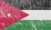 Flag Of Jordan With Old Texture. Vector