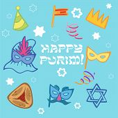 foto of purim  - Funny cartoon Purim icon set isolated background - JPG