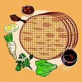 foto of passover  - Traditional jewish passover dishes on special plate - JPG