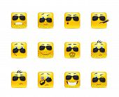Set Inspirational Bearded Emoticons