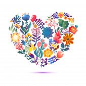 Love Card With  Floral Bouquet. Valentine's Day Vector Illustration With Heart Form