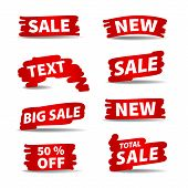 Red Vector Sale Labels