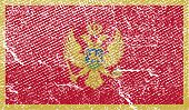 Flag Of Montenegro With Old Texture. Vector