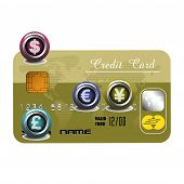 pic of debit card  - Isolated credit card with various foreign currency symbols - JPG
