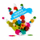 Happy Birthday Vector Illustration on White Background with Hand and Colorful Splashes - Stains - Bl