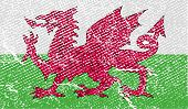 Flag Of Wales With Old Texture. Vector