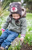 Cute Toddler Boy Trying To Disrupt The Snowdrop