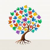 image of education  - Education and learning concept with colorful abstract tree book illustration - JPG