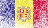 Flag Of Andorra With Old Texture. Vector