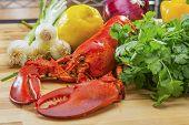 Fresh Steamed Lobster with Lemon and Fresh Vegetables