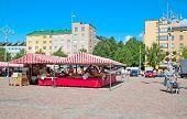 Lahti. Finland. Stalls on Market Square