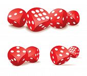 stock photo of dice  - Red gambling dices in motion - JPG