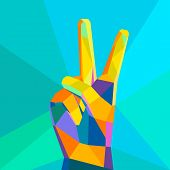 Victory hand geometrical style