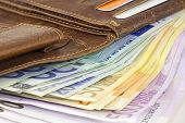 Leather Wallet Full Of Euro Banknotes