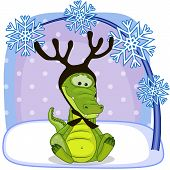 image of antlers  - Christmas illustration of cartoon Crocodile with antlers - JPG