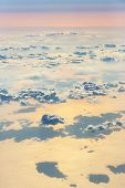 stock photo of aeroplan  - Beautiful sky with clouds a view from an aeroplane above the clouds - JPG