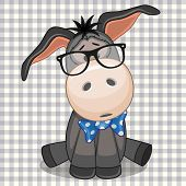 stock photo of donkey  - Hipster Donkey with glasses on a plaid background - JPG