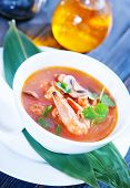 pic of gai  - fresh asian soup in bowl and on a table - JPG
