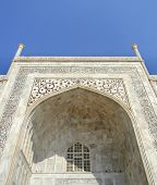 picture of mausoleum  - Close perspective angle of the Taj Mahal mausoleum in Agra - JPG