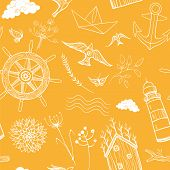 image of grass bird  - Vector seamless pattern with anchor steering wheel ship lighthouse sea forest hut camping flowers grass birds butterflies clouds - JPG