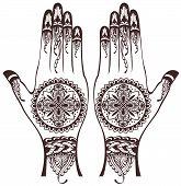 stock photo of henna tattoo  - Illustration of hands - JPG
