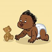 foto of crawling  - Funny vector cartoon colorfull crawling black baby and teddy - JPG