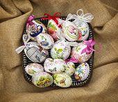 Easter Eggs In The Wicker Basket