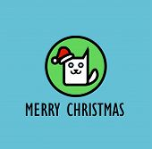 picture of kitty  - Christmas Card with image of cute kitty Vector Illustration - JPG