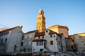 Ancient buildings and bell tower of cathedral in Split city