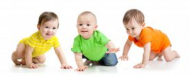 image of crawl  - funny smiling babies toddlers crawling isolated on white - JPG