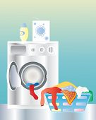 stock photo of washing machine  - an illustration of a washing machine with an open door and laundry basket on a shiny kitchen floor - JPG