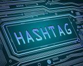 pic of hashtag  - Abstract style illustration depicting printed circuit board components with a hashtag concept - JPG