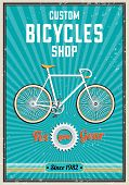 foto of bicycle gear  - Fixied gear bicycle retro poster design - JPG