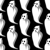 stock photo of eye-sockets  - Terrifying white ghosts silhouettes seamless pattern with open mouths and empty eye sockets on black background for Halloween party design - JPG