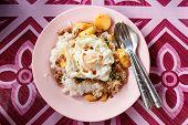 stock photo of stir fry  - Fried Stir Basil with Minced pork and tofu with fried egg - JPG