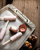 pic of ice cream parlor  - Ice cream containing mangosteen on a silver platter - JPG
