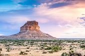 image of butt  - Beautiful sunset over a golden Fajada Butte - JPG