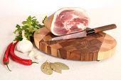 picture of bay leaf  - Meat parsley pepper garlic bay leaf and chopping board - JPG