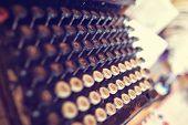 image of typewriter  - Capture of Antique Typewriter. Vintage Typewriter Machine Closeup ** Note: Shallow depth of field - JPG