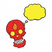 foto of mystical  - cartoon mystic skull with thought bubble - JPG
