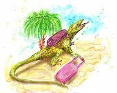 picture of lizards  - lizard tourist with suitcase and a bag - JPG