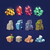 picture of pumice stone  - Set of cartoon vector illustration stones and minerals - JPG