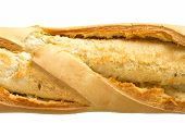 image of baguette  - Close up image of crusty baguette on white - JPG