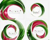 foto of slogan  - Vector green swirl line abstract background - JPG