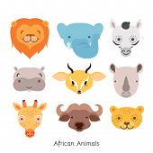 image of african animals  - Cute African Animal Portrait Set with Flat Design - JPG