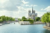 stock photo of notre dame  - Seine and Notre Dame de Paris - JPG