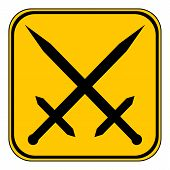 picture of crossed swords  - Crossed swords button on white background - JPG