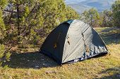 picture of crimea  - Installed tourist tent in the woods - JPG