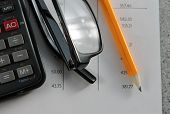 pic of statements  - Bank statement with pencil and calculator with glasses - JPG