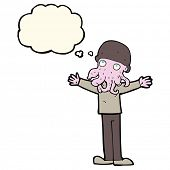 stock photo of squid  - cartoon alien squid face man with thought bubble - JPG